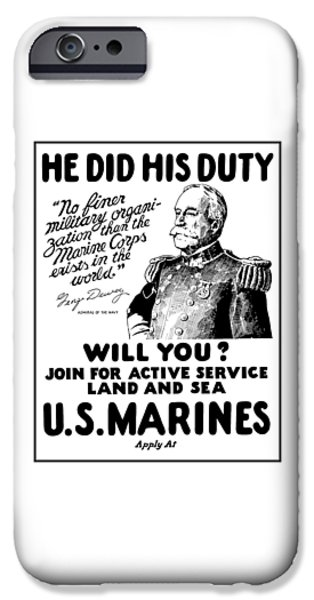 Marine iPhone Cases - George Dewey - US Marines Recruiting iPhone Case by War Is Hell Store