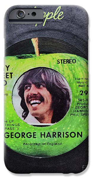 Beatles iPhone Cases - George Harrison 45 Record iPhone Case by C W Hooper