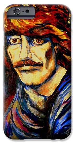 Mick Jagger Paintings iPhone Cases - George Harrison iPhone Case by Carole Spandau