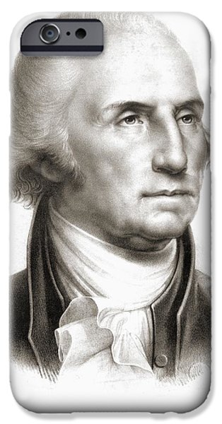 First Black President Drawings iPhone Cases - George Washington 1732 - 1799 First iPhone Case by Ken Welsh