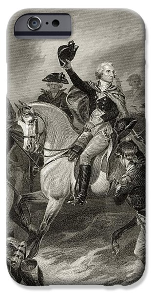 First Black President Drawings iPhone Cases - George Washington 1732 To 1799 At The iPhone Case by Ken Welsh