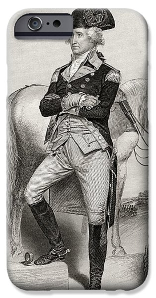 First Black President Drawings iPhone Cases - George Washington 1732 To 1799 In 1775 iPhone Case by Ken Welsh
