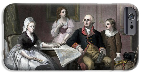 American Revolution iPhone Cases - George Washington And His Family iPhone Case by War Is Hell Store