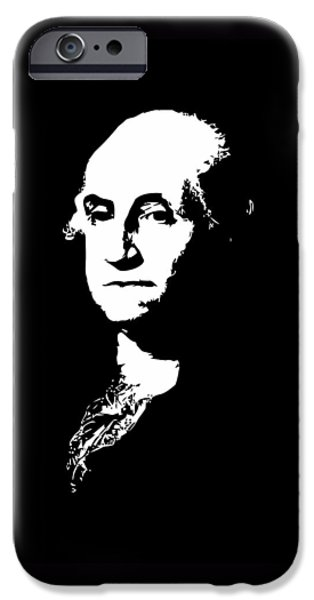 American Revolution Digital Art iPhone Cases - George Washington Black and White iPhone Case by War Is Hell Store