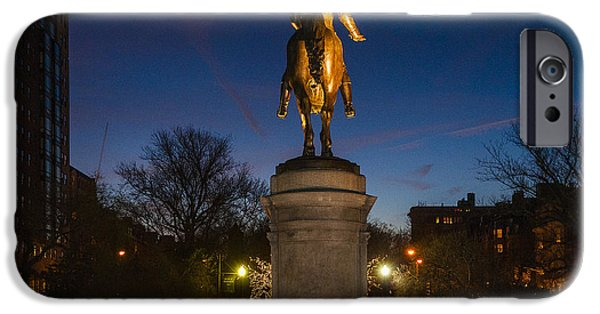 Boston Ma iPhone Cases - George Washington Boston Dusk Statue iPhone Case by Irwin Sterbakov