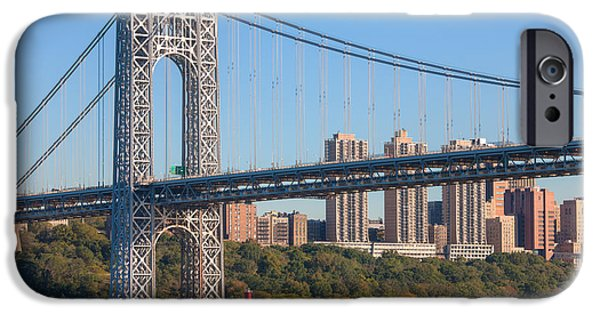 Hudson River iPhone Cases - George Washington Bridge and Lighthouse II iPhone Case by Clarence Holmes