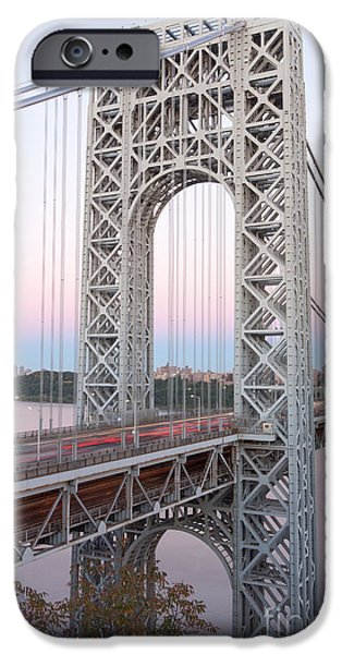 Hudson River iPhone Cases - George Washington Bridge and Traffic iPhone Case by Clarence Holmes