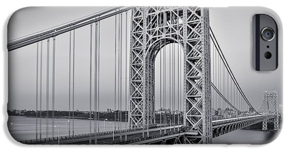 Hudson River iPhone Cases - George Washington Bridge End Of Day BW iPhone Case by Susan Candelario