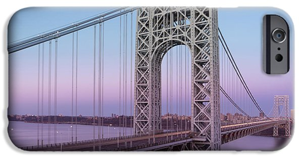 Fall iPhone Cases - George Washington Bridge End Of Day iPhone Case by Susan Candelario