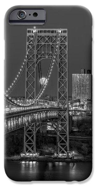 Full Moon iPhone Cases - George Washington Bridge Full Moonrise BW iPhone Case by Susan Candelario