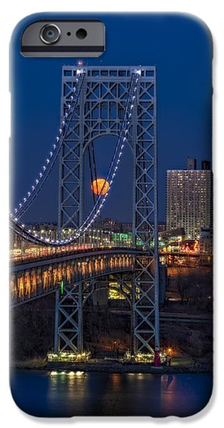Hudson River iPhone Cases - George Washington Bridge Full Moonrise iPhone Case by Susan Candelario