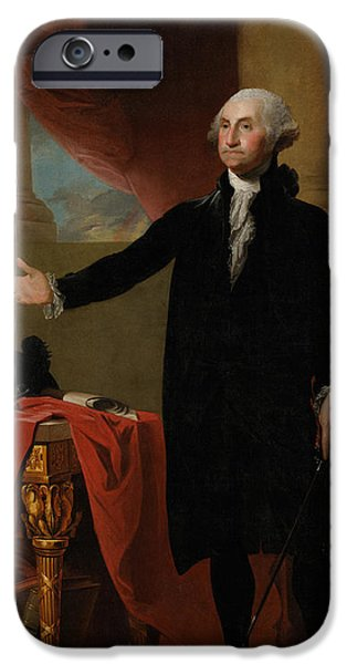 Portrait Paintings iPhone Cases - George Washington Lansdowne Portrait iPhone Case by War Is Hell Store