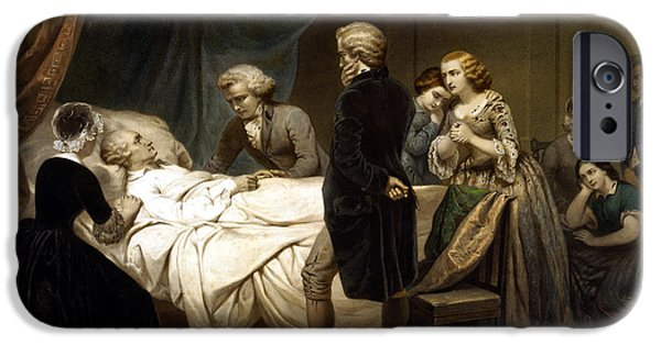 American Revolution iPhone Cases - George Washington On His Deathbed iPhone Case by War Is Hell Store