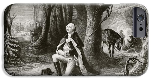 War iPhone Cases - George Washington Prays At The American iPhone Case by Ken Welsh