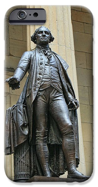 President iPhone Cases - George Washington Sculpture Federal Hall iPhone Case by Allen Beatty