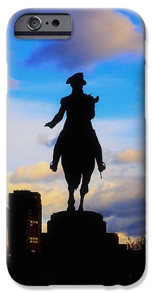 George Washington Statue Sunset - Boston iPhone Case by Joann Vitali