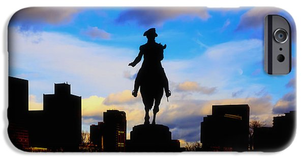 City. Boston iPhone Cases - George Washington Statue Sunset - Boston iPhone Case by Joann Vitali