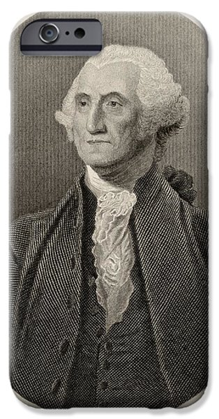 First Black President Drawings iPhone Cases - George Washington,1732-1799. First iPhone Case by Ken Welsh