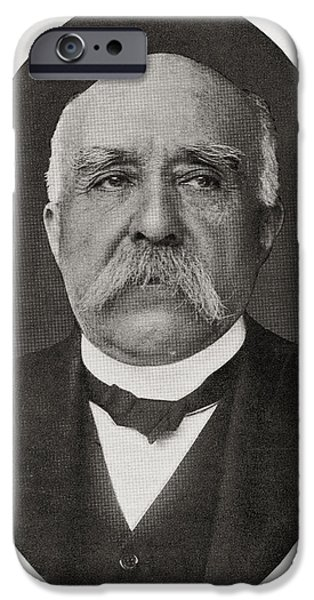The Tiger Drawings iPhone Cases - Georges Benjamin Clemenceau, 1841 iPhone Case by Ken Welsh