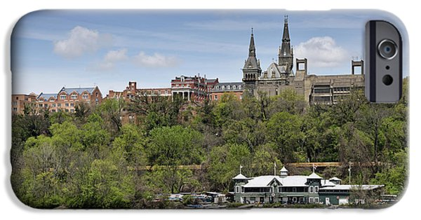 River View iPhone Cases - Georgetown University from Potomac River iPhone Case by Brendan Reals