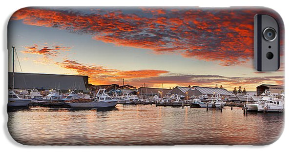 Ocean Sunset iPhone Cases - Geraldton Boat Harbour 2 iPhone Case by Karl Monaghan