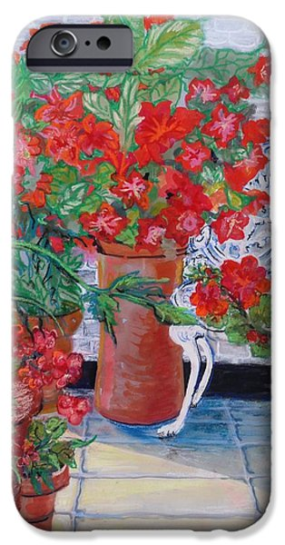 Geranium iPhone Cases - Geraniums and Petunias on the Terrace iPhone Case by Joan Thewsey