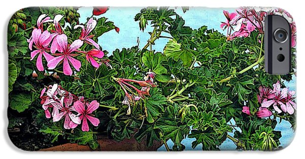 Nature Abstract iPhone Cases - Geraniums by the Sea iPhone Case by Jean Hall