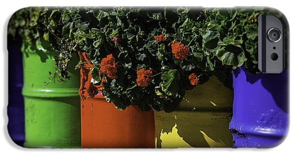 Geranium iPhone Cases - Geraniums In Colorful Barrels iPhone Case by Garry Gay