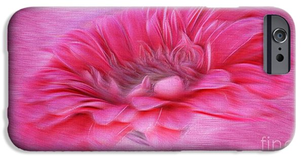 Abstract Digital Mixed Media iPhone Cases - Gerbera in the Breeze iPhone Case by Clare Bevan