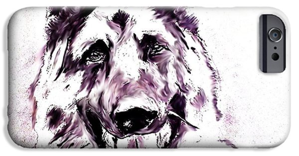 Police Art Drawings iPhone Cases - German Sheapherd iPhone Case by Crystal Webb