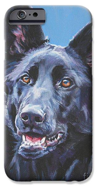 Black Dog iPhone Cases - German Shepherd Black iPhone Case by Lee Ann Shepard