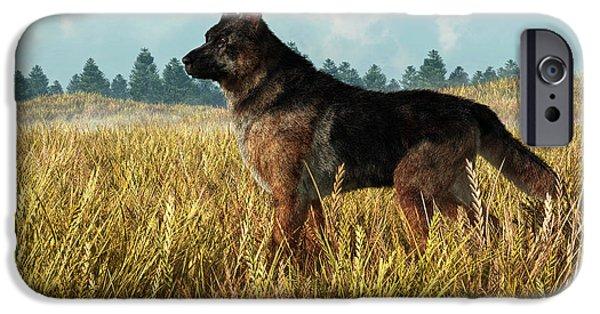 Dog Rescue Digital Art iPhone Cases - German Shepherd iPhone Case by Daniel Eskridge