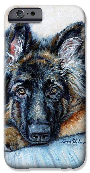 Police Paintings iPhone Cases - German Shepherd iPhone Case by Enzie Shahmiri