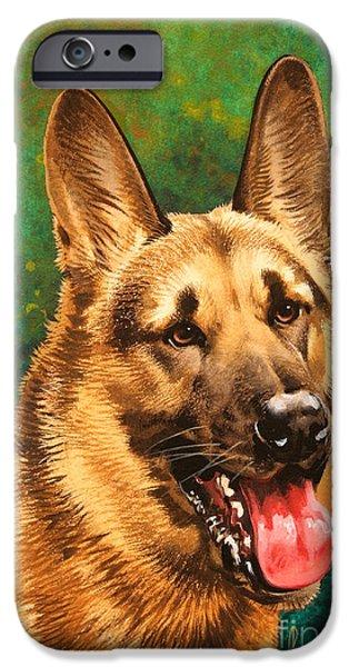 German Shepherds iPhone Cases - German Shepherd iPhone Case by John Francis
