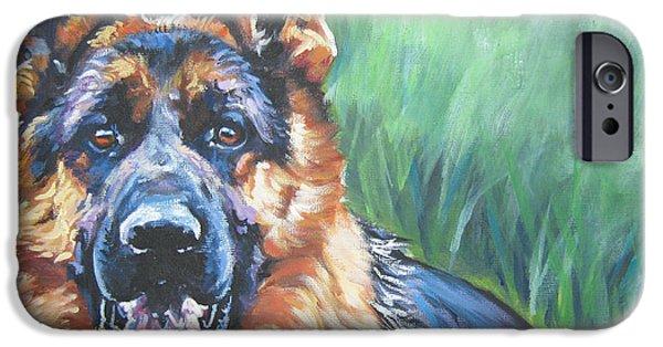 Alsatian iPhone Cases - German Shepherd iPhone Case by Lee Ann Shepard