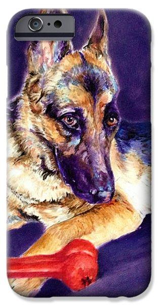 Police Dog iPhone Cases - German Shepherd Painting iPhone Case by Enzie Shahmiri