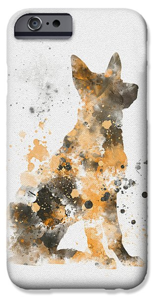 Canine Mixed Media iPhone Cases - German Shepherd iPhone Case by Rebecca Jenkins