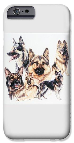 Animal Drawings iPhone Cases - German Shepherds iPhone Case by Barbara Keith