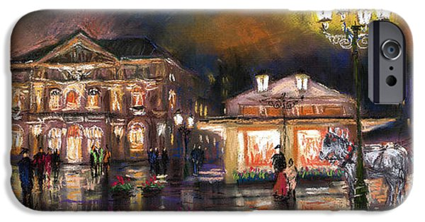 Night Lamp iPhone Cases - Germany Baden-Baden 14 iPhone Case by Yuriy  Shevchuk