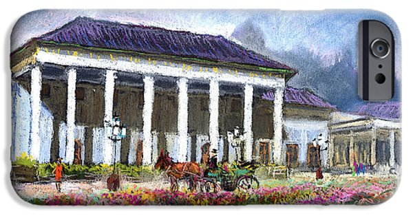Old Pastels iPhone Cases - Germany Baden-Baden Kurhaus Kasino iPhone Case by Yuriy  Shevchuk