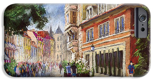 Old Pastels iPhone Cases - Germany Baden-Baden Lange Str iPhone Case by Yuriy  Shevchuk