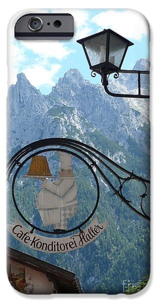 Alps iPhone Cases - Germany - Cafe Sign iPhone Case by Carol Groenen