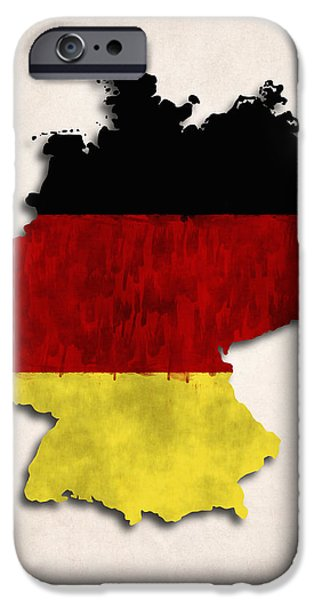Germany Map iPhone Cases - Germany map art with flag design iPhone Case by World Art Prints And Designs