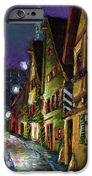 Old Pastels iPhone Cases - Germany Ulm Old Street Night Moon iPhone Case by Yuriy  Shevchuk