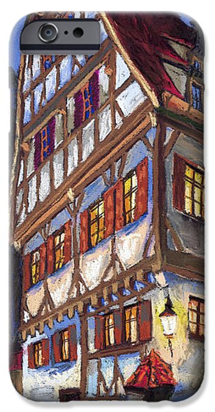 Old Pastels iPhone Cases - Germany Ulm Old Street iPhone Case by Yuriy  Shevchuk