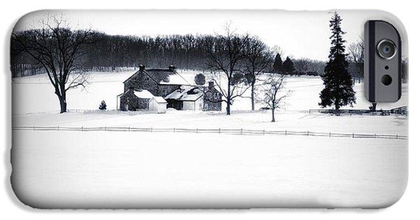 Gettysburg Digital iPhone Cases - Gettysburg Farm in Winter iPhone Case by Bill Cannon