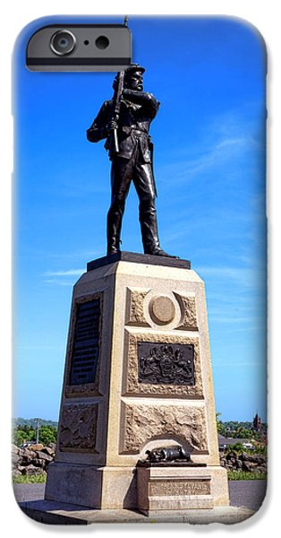 11th iPhone Cases - Gettysburg National Park 11th Pennsylvania Infantry Memorial iPhone Case by Olivier Le Queinec