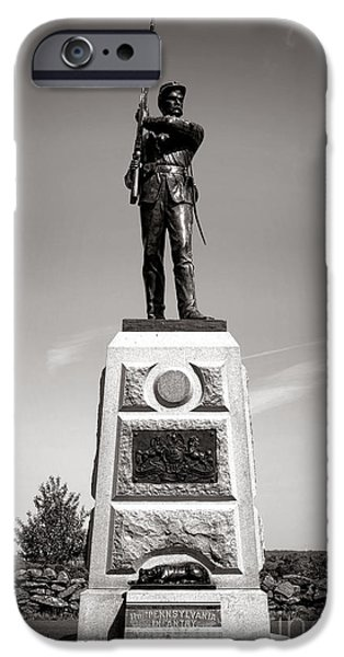 11th iPhone Cases - Gettysburg National Park 11th Pennsylvania Infantry Monument iPhone Case by Olivier Le Queinec