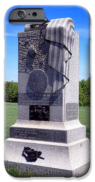 Regiment iPhone Cases - Gettysburg National Park 121st Pennsylvania Infantry Memorial  iPhone Case by Olivier Le Queinec