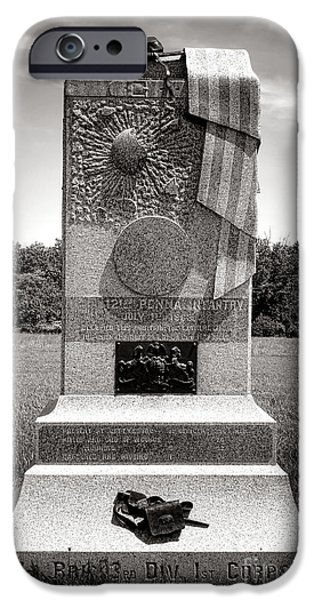 Regiment iPhone Cases - Gettysburg National Park 121st Pennsylvania Infantry Monument iPhone Case by Olivier Le Queinec